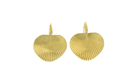18ct Earrings In Yellow Gold Fan Palm Leaf