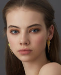 18ct Earrings In Yellow Gold With Sapphires & Opals