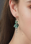 18ct Earrings In White Gold With Tourmaline & Aquamarine
