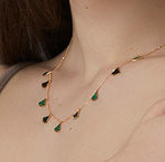 18ct Necklace In Yellow Gold With Malachite & Enamel