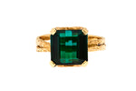 18ct Ring In Yellow Gold With Green Chrome Tourmaline