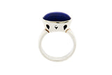 Silver Ring With Bezel Set Oval Lapis