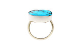 18ct Ring In White Gold With Turquoise