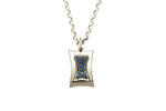 9ct Pendant In White Gold With Blue Sapphires