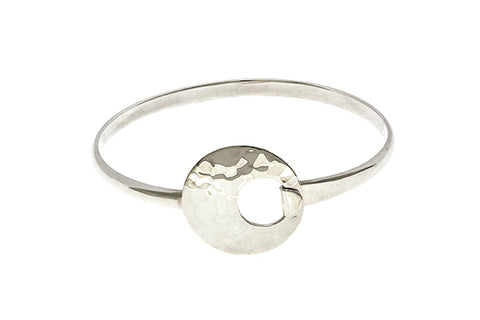 Silver Bangle With Hammered Circle Hook Clasp