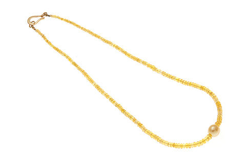 9ct Yellow Gold Yellow Sapphire & Pearl Necklace