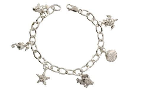 Silver Bracelet With Sea Shells And Sea Animals