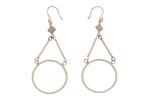 Silver Earrings With Circle & Triangle Drops