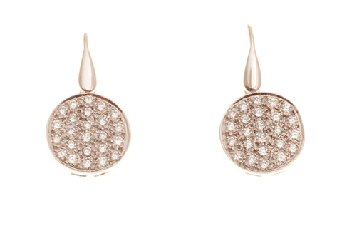18ct Earrings In White Gold With Pave Diamonds In Flat Coin Disc