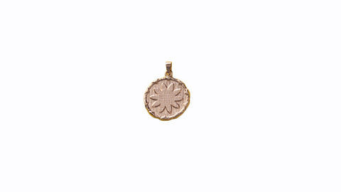 9ct Pendant In Rose Gold With Goroka Basket Pointed Star
