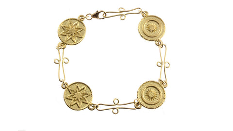 18ct Bracelet in Yellow Gold With PNG Goroka or Buka Basket Links
