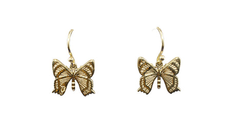 9ct Earrings In Yellow Gold With Alcides Butterfly From Papua New Guinea