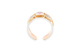 9ct Ring In Rose & White Gold With A Pink Sapphire & Diamonds