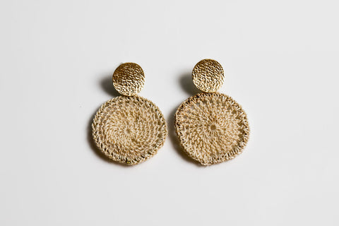 Bilum & Bilas Bismark Basket Gold Disc Earrings