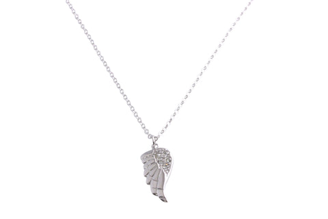 Silver necklace with angel wing and cubic zirconias