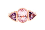 9ct Ring In Rose Gold With Morganite & Amethysts