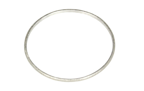 Silver Oval Bangle Diamond Cut Finish