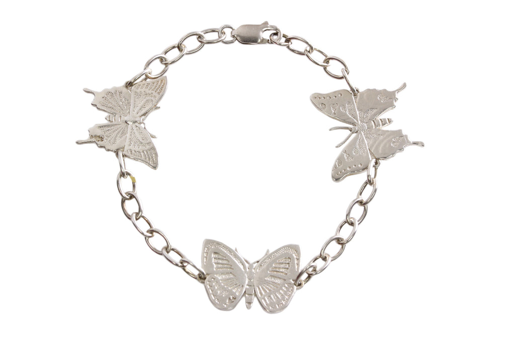 Silver Bracelet With Png Butterflies Ulysses Danis Danis And