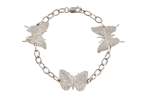 Silver Bracelet With PNG Butterflies - Ulysses, Danis Danis and Purple Spotted Swallows tail
