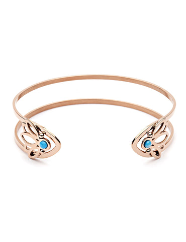 PASTICHE ARCHIPELAGO CUFF BANGLE IN ROSE GOLD PLATED STEEL WITH BLUE HOWLITE