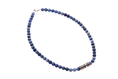 Dumortierite Stone Mens Necklace With Steel Clasp