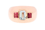 9ct Ring In Rose Gold With Aquamarine & Garnets