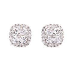 SYBELLA Sterling Silver Rhodium Plate & Cubic Zirconia Flower Stud Earrings