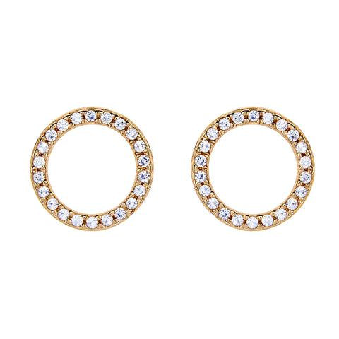 SYBELLA YELLOW GOLD ROUND CUBIC ZIRCONIA STUDS