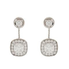 SYBELLA Sterling Silver, Rhodium Plate Double Square Cubic Zirconia Dress Earrlings