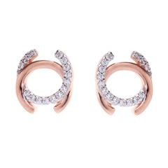 SYBELLA ROSE GOLD AND CUBIC ZIRCONIA STUD EARRING