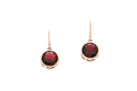 9ct Earrings In Rose Gold With Faceted Garnets 10mm