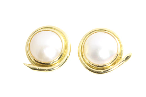 18ct Yellow Gold Mabe Pearl Earrings