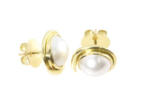 18ct Earrings In Yellow Gold With Bezel Set Mabe Pearls