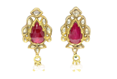 22ct Earrings In Yellow Gold With Ruby, Diamonds, Pearls Drops & Enameling