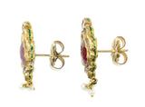 22ct Earrings In Yellow Gold With Rubies, Diamonds & Pearls