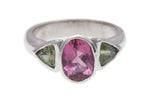9ct Ring In White Gold With Pink Tourmaline & Green Sapphire
