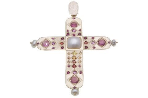 9ct Pendant In Yellow Gold Cross With Sapphires, Tourmalines & Pearls