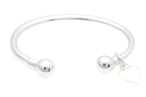 Silver Bangle With Heart Tag For Baby