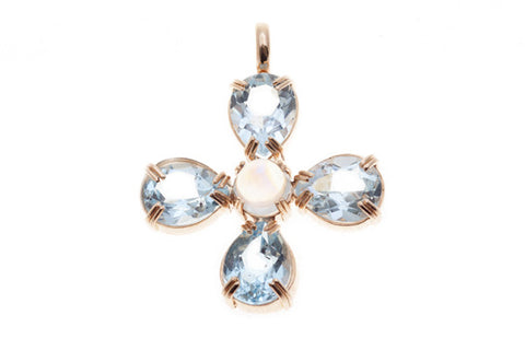 9ct Pendant In Rose Gold With Blue Topaz & Moonstone