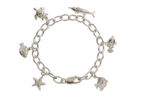 Silver Bracelet With Sea Animals