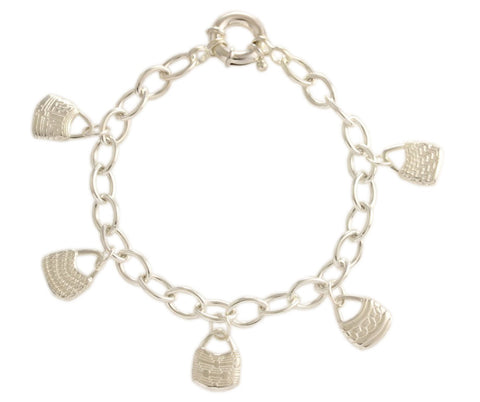 Silver Bracelet With PNG Bilum Baskets