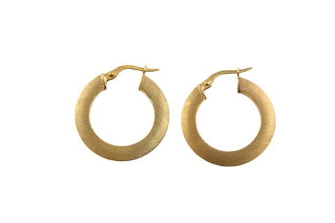 9ct Hoop Earrings In Yellow Gold With A Satin Finish.