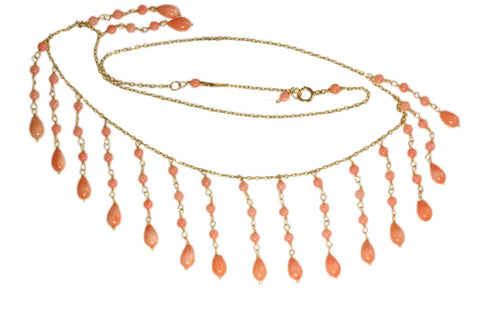 14ct Necklace in Yellow Gold with Coral Drops