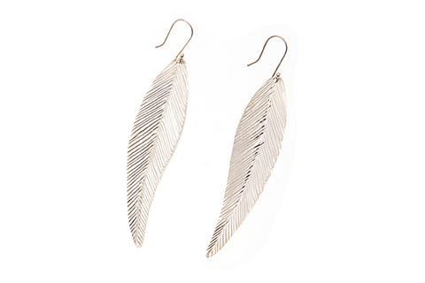 Silver Earrings With Leaf Design