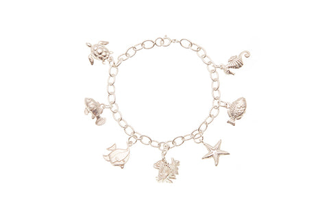 Silver Bracelet With Fish & Sea Creatures