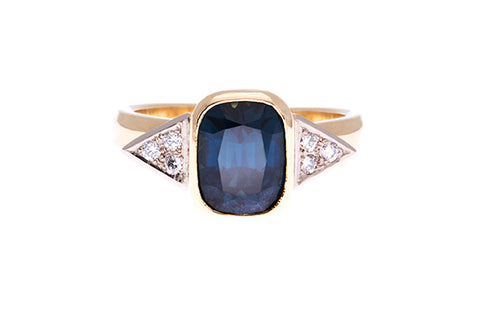 18ct Ring In Yellow/White Gold With Natural Australian Parti Sapphire & Diamonds