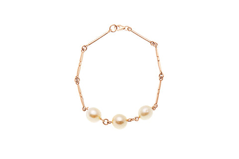9ct Bracelet In Rose Gold With Milne Bay Pearls