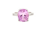 Platinum Ring With Oval Kunzite & Diamond Set Band
