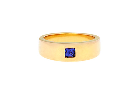 18ct Ring In Yellow Gold With Princess Cut Purple Sapphire