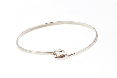 Silver Bangle With Tadpole Clasp